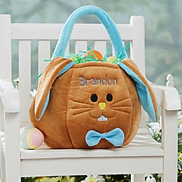 Embroidered Easter Bunny Basket in Blue/Brown