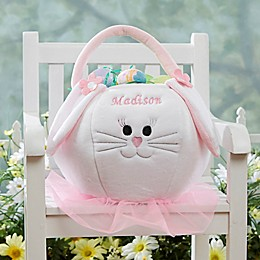 Embroidered Easter Bunny Basket in Pink/White