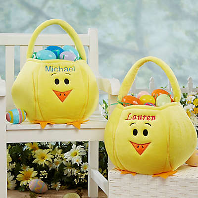 Embroidered Easter Chick Basket in Yellow