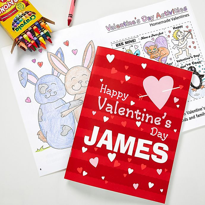 Alternate image 1 for Happy Valentine's Day Coloring Book & Crayon Set