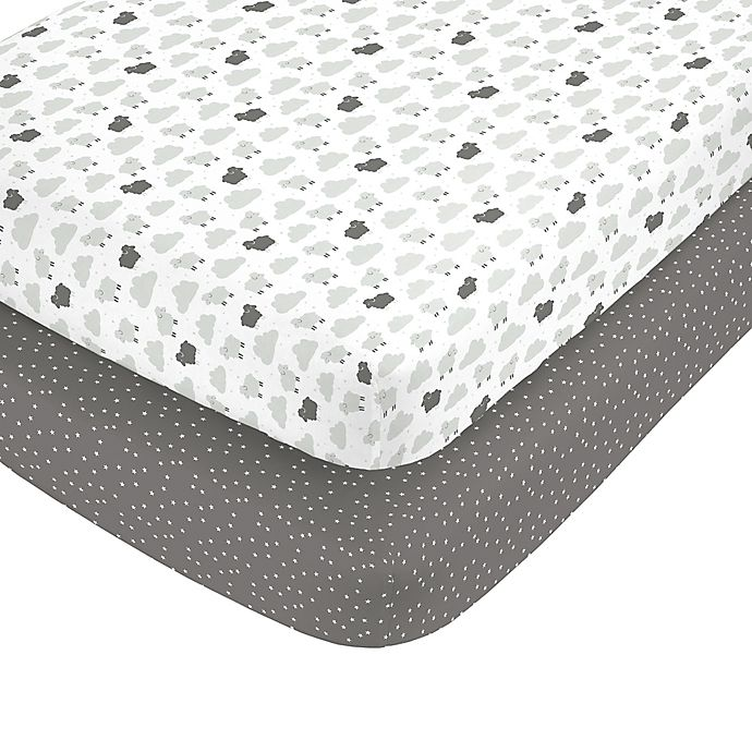 Alternate image 1 for carter's® Grey Sheep Fitted Crib Sheets (Set of 2)