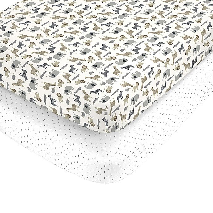 Alternate image 1 for carter's® Safari Fitted Crib Sheets (Set of 2)
