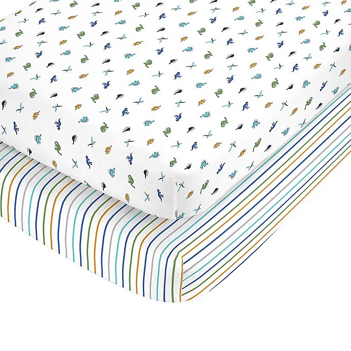 Alternate image 1 for carter's® Dino Toss Fitted Crib Sheets (Set of 2)