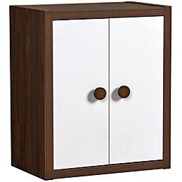 Sierra Ridge Terra Modular Bookcase with Doors in Walnut/White