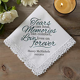 Love Lives On Linen Handkerchief