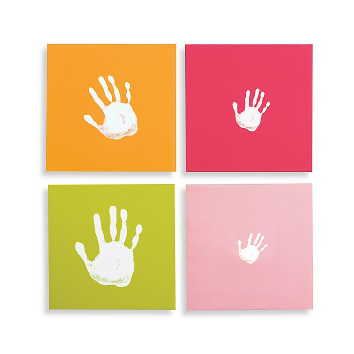 Pearhead™ Handprint Wall Art Set in Pink (Set of 4) | buybuy BABY