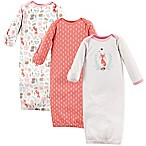 Hudson Baby® Size 0-6M 3-Pack Woodland Fox Gowns