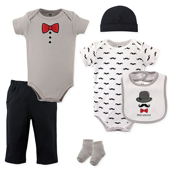 Alternate image 1 for Hudson Baby® 6-Piece Gentleman Layette Set in Black/Grey