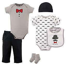 Hudson Baby® 6-Piece Gentleman Layette Set in Black/Grey