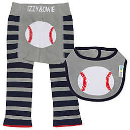Izzy & Owie Size 6-12M 2-Piece Baseball Legging and Bib Set
