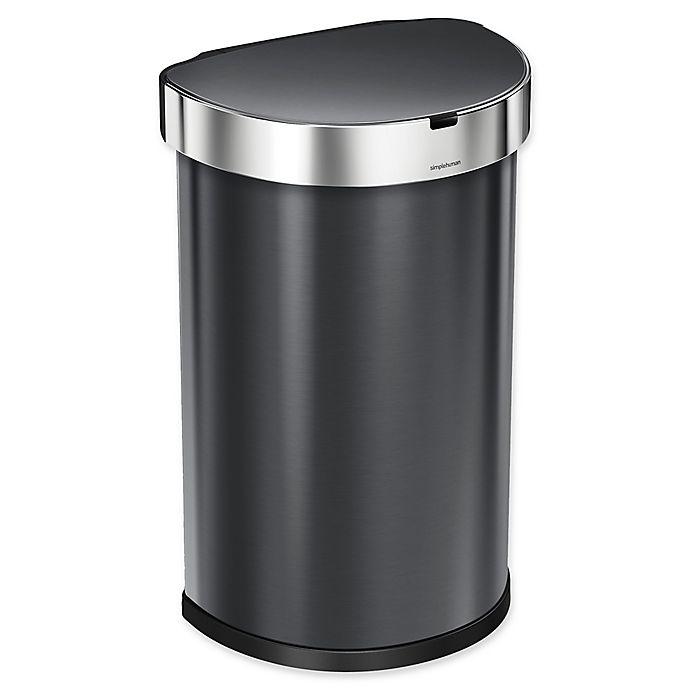 Alternate image 1 for simplehuman® Fingerprint-Proof 45-Liter Semi-Round Sensor Trash Can in Black Stainless Steel