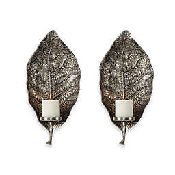 Uttermost 1-Light Poly-Resin Zelkova Leaf Wall Wall Sconce Candle Holders in Silver (Set of 2)