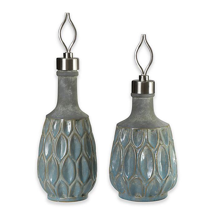 Alternate image 1 for Uttermost Arpana 2-Piece Decorative Bottle Set in Blue/Grey