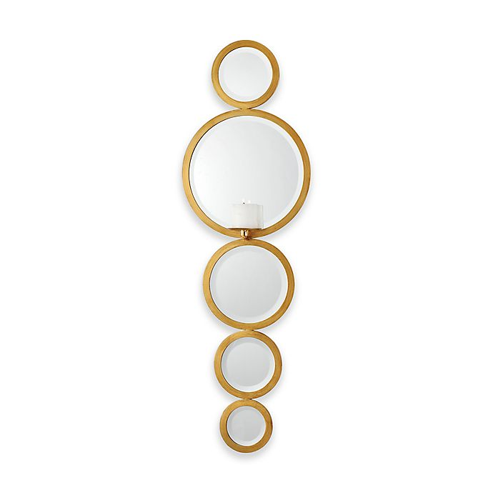 Alternate image 1 for Uttermost Hailey Mirrored Candle Wall Sconce in Gold