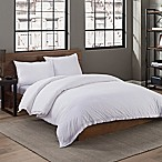 Garment Washed Solid Full/Queen Duvet Cover Set in White
