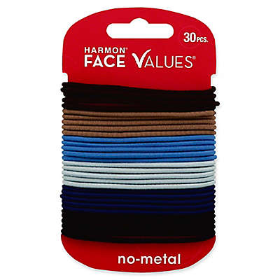 Harmon® Face Values™ 30-Count Thin Elastic Band Ponytail Holders in Denim