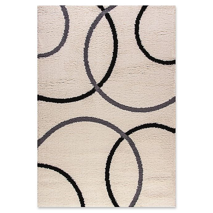 Alternate image 1 for Dynamic Rugs Silky Shag Circles Rug 2' x 3'3 Accent Rug in White/Grey/Black