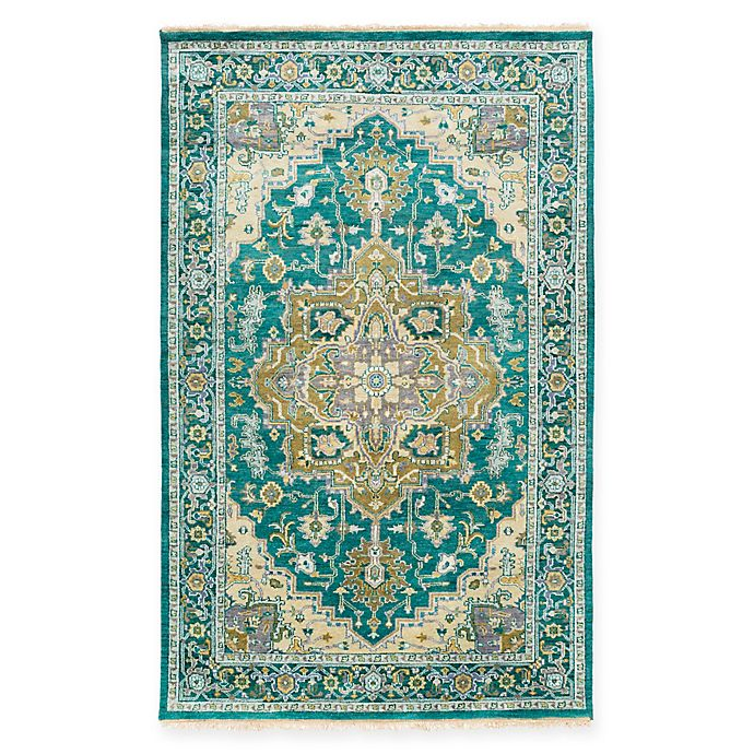 Alternate image 1 for Surya Zeus Classic Geometric 10-Inch x 14-Inch Area Rug in Emerald/Olive