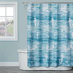 Saturday Knight Mermaid Shore Shower Curtain in Aqua