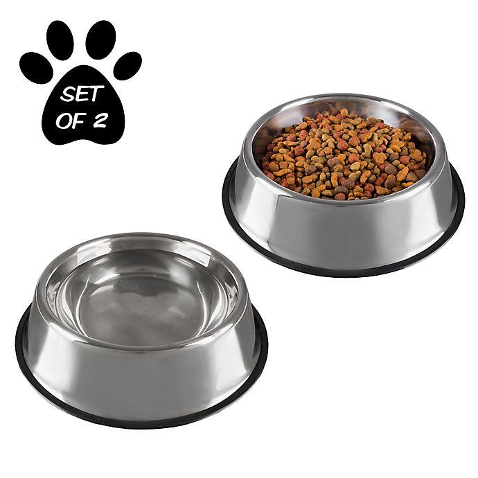 Alternate image 1 for PETMAKER Stainless Steel Pet Bowls (Set of 2)
