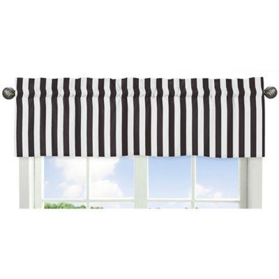 Sweet Jojo Designs Paris Striped Window, Black Valance Curtains