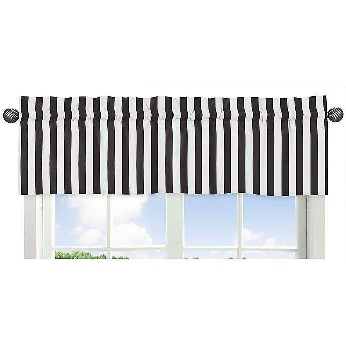 Alternate image 1 for Sweet Jojo Designs Paris Striped Window Valance in Black/White