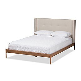 Baxton Studio Brooklyn Upholstered Winged Platform Bed