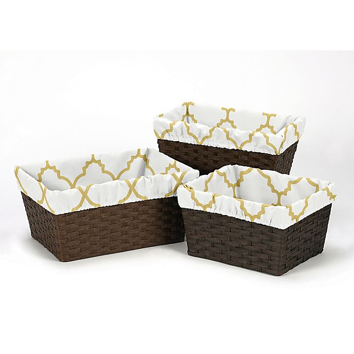 Alternate image 1 for Sweet Jojo Designs® Trellis Basket Liners in White/Gold (Set of 3)