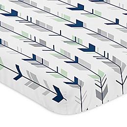Sweet Jojo Designs® Mod Arrow Mini-Crib Sheet in Grey/Mint