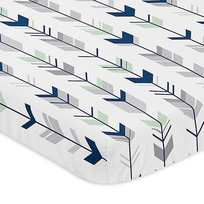 Alternate image 1 for Sweet Jojo Designs® Mod Arrow Mini-Crib Sheet in Grey/Mint