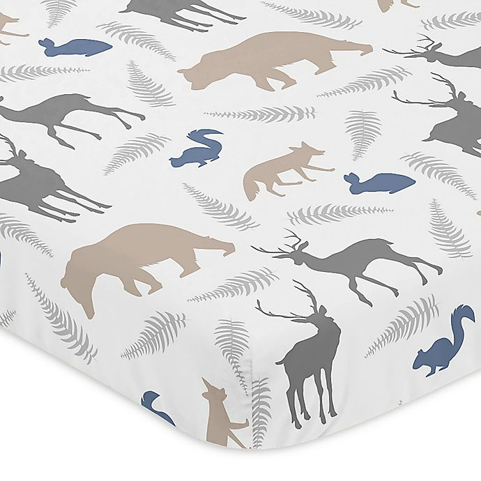 Alternate image 1 for Sweet Jojo Designs Woodland Animals Fitted Mini-Crib Sheet