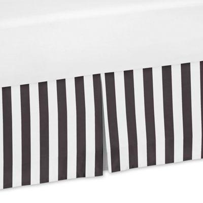 Sweet Jojo Designs Paris Striped Crib Skirt In Black White
