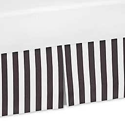 Sweet Jojo Designs Paris Striped Crib Skirt in Black/White