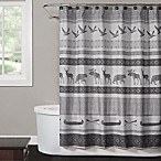 Saturday Knight Wilderness Calling Shower Curtain in Grey
