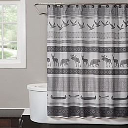 Saturday Knight Wilderness Calling Shower Curtain Collection in Grey