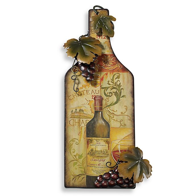 Red Wine Bottle Metal Wall Art Plaque Bed Bath And Beyond Canada