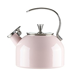 kate spade new york All in Good Taste 2.5 qt. Enameled Stainless Steel Tea Kettle in Blush