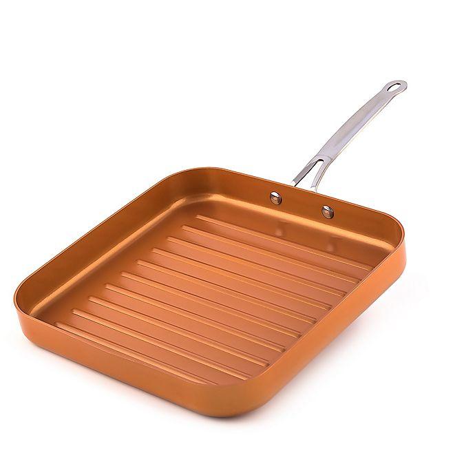 Alternate image 1 for MasterPan Original Copper 11-Inch Non-Stick Square Grill Pan