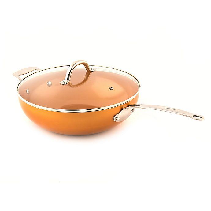 Alternate image 1 for MasterPan Original Copper 12-Inch Non-Stick Wok With Lid