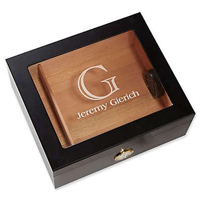 Initial and Name Premium Cigar Humidor in Black