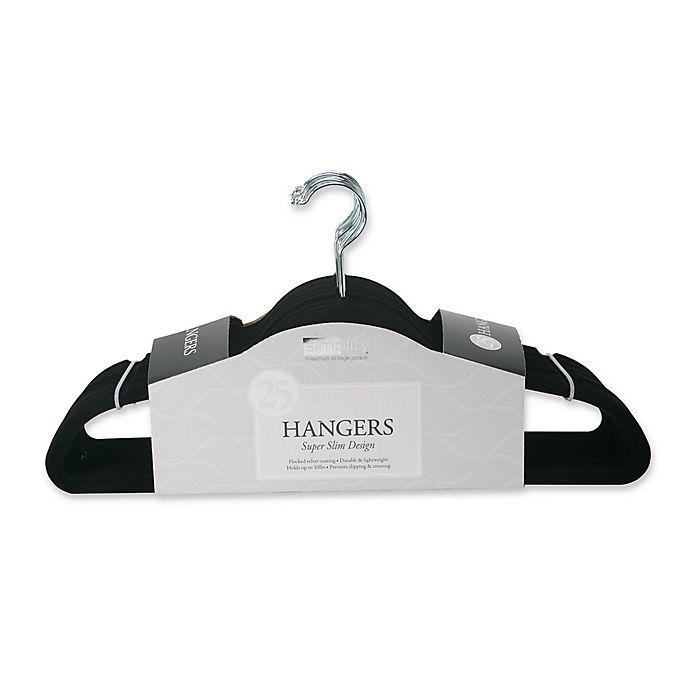 Alternate image 1 for Simplify 25-Pack Slim Velvet Suit Hangers in Black
