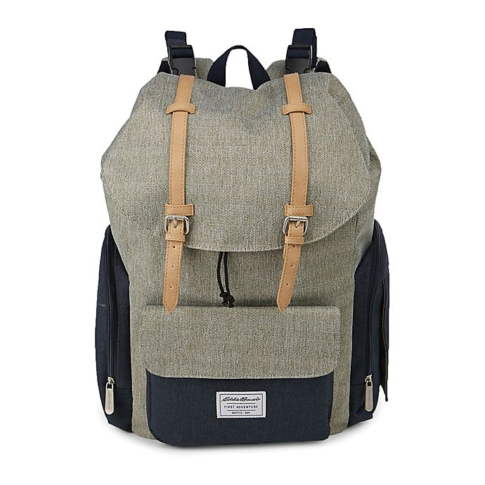 Alternate image 1 for Eddie Bauer® Backpack Diaper Bag in Green/Navy