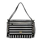 carter's® Flap Messenger Stripe Diaper Bag in Black/White