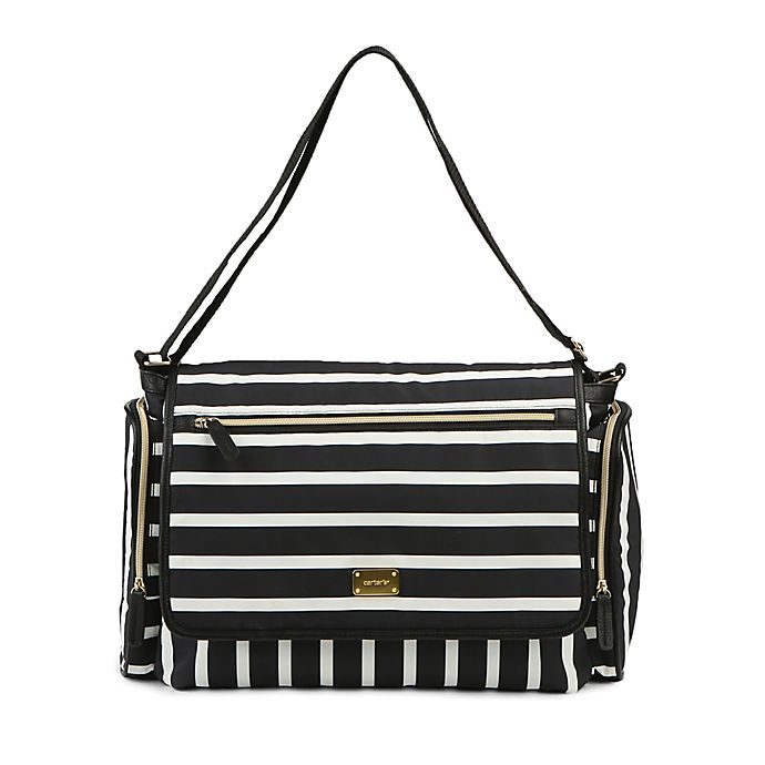 Alternate image 1 for carter's® Flap Messenger Stripe Diaper Bag in Black/White