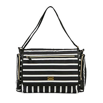 carter's® Flap Messenger Stripe Diaper Bag in Black/White