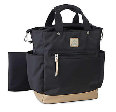 ErgoBaby™ Coffee Run Tall Tote Diaper Bag in Black/Camel