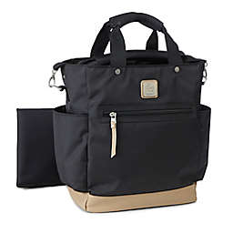 ErgoBaby™ Coffee Run Tall Tote Diaper Bag in Black/Camel
