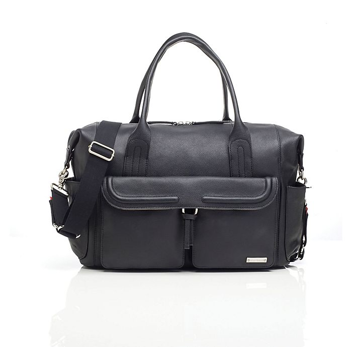 Alternate image 1 for Storksak® Charlotte Leather Diaper Bag in Black