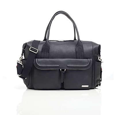 Storksak® Charlotte Leather Diaper Bag in Black