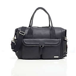 Storksak® Charlotte Leather Diaper Bag in Black
